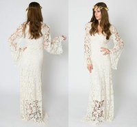 Wholesale sexy beach style wedding dresses for sale - Trendy Sexy Long Sleeve Bohemian Beach Lace Wedding Dresses Sheer Spring Boho Garden Country Style Vestido de novia Formal Bridal Gown