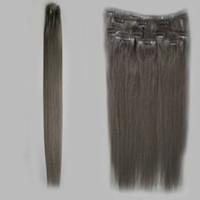 ingrosso pezzi di capelli grigi d'argento-Clip grigio argento in brasiliane fatte a macchina estensioni dei capelli umani di Remy 7 pezzi / set Clip di capelli vergini grigi 100g nelle estensioni dei capelli umani