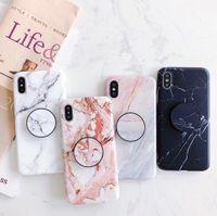 ingrosso silicone per pietra-Cassa del telefono della pietra di marmo di nuovi arrivi moda per le custodie del telefono TPU di iPhone XS MAX XR X 8 7 6S più morbide con la staffa