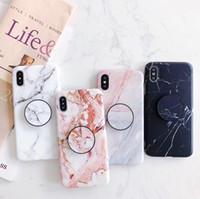 iphone için ayraç toptan satış-Yeni Gelenler Moda Mermer Taş Telefon Kılıfı için iPhone XS MAX XR X 8 7 6 S Artı Braketi ile Yumuşak TPU telefonu kılıfları