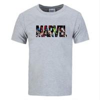 yeni marvel tişörtler toptan satış-Yeni Moda Marvel Kısa Kollu T-shirt Erkekler baskı tişörtlü O-Boyun comic Marvel gömlek üstleri erkek giysileri Tee
