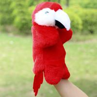 peluş papağanlar toptan satış-Bebek Peluş Oyuncak Hayvan Papağan El Kukla Çocuk Doldurulmuş Bebek Çocuklar için Kawaii Kukla Noel Doğum Günü Hediyesi