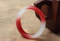 ingrosso braccialetti rossi della giada bianca-Cinturino in oro bianco cinese naturale rosso bellissimo fatto a mano 56mm-62mm