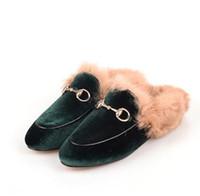обувь осень зима оптовых-33-43 большой размер!Дамы роскошный мех мул тапочки кожаные плоские замшевые туфли цветок змея мул мода открытый тапочки осень и зима обувь 445
