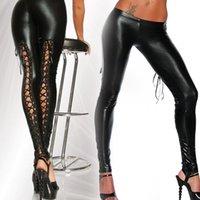 Wholesale lace punk leggings - Punk Leggings Women Sexy Gothic Punk Wet Look PVC Like Lace Up Back Clubwear Latex Legging Pants(Size M; Color Black)