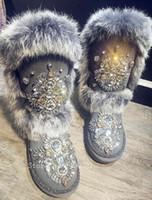 fox mujer venda por atacado-Inverno Austrália Pele De Raposa Botas De Neve Mujer De Luxo Cristal Cravejado de Neve Quente Botas Mulheres Flats Sapatos Com Pele