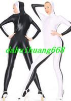 ingrosso abito bianco catsuit vestito-Bianco / Nero Lycra Spandex Suit Catsuit Costumi Unisex Sexy Costumi tuta con Open Face Fancy Dress Party Costumi Cosplay DH294