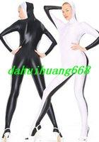 abendkleid weißer catsuit großhandel-Weiß / Schwarz Lycra Spandex Anzug Catsuit Kostüme Unisex Sexy Bodysuit Kostüme mit offenem Gesicht Fancy Dress Party Cosplay Kostüme DH294
