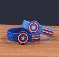 hellblaue karikatur großhandel-DHL Captain America Silikon Armband Blau Und Hellblau Cartoon Marvel Armband Comic Superheld Film Gummiband Anime Armreifen