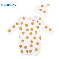 Wholesale girls nightgown sets - 2017 Brand New 2pcs Newborn Toddler Infant Baby Girls Boys Pajamas Polka Dot Sleepwear Nightgown Hat 2Pcs Outfits Set 0-6M