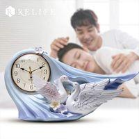 Wholesale meeting live - Modern Design Two Swan Meeting Desktop Clock 100% Handpainted Home Clock for Living Room
