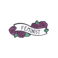 flores de esmalte para broche al por mayor-Broche de la cinta de la flor Feminista Bandera colorida de la flor Pin del esmalte Camisa del botón Insignia del botón Amistad Femenina Regalo de la amiga