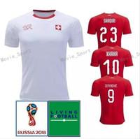 Wholesale wholesale switzerland - 2018 world cup Switzerland Soccer Jersey 18 19 Swiss Home red White soccer Shirt #10 XHAKA 7 EMBOLO football uniform sales Swiss