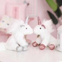 kürklü bebek toptan satış-Tatlı Unicorn Peluş Bebek Bebek Yatıştırıcı Sevimli Oyuncaklar Erkek Kız Dolması Aşağı pamuk Süper Yumuşak Oyuncaklar Yaratıcı Komik Doğum Günü Hediyesi Kürk Mutlu melek