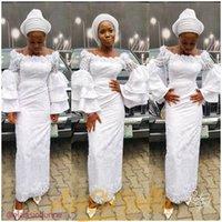 nigerianische weiße spitze prom kleider großhandel-Weiß Nigerian Spitze Stil 2019 Kleider Abendgarderobe Knöchellänge schwarze Mädchen Abendkleider mit langen Ärmeln tiered Backless African Mermaid Kleid