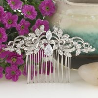 Wholesale diamond wave hair online - Bella Fashion Leaf Wave Teardrop Bridal Hair Comb Cubic Zircon Austrian Crystal Wedding Hair Piece Bridesmaid Women Hair Jewelry S926