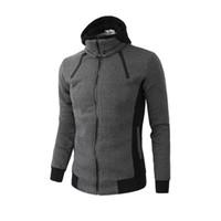 koyu gri hoodie toptan satış-Mens Kış Tasarımcı Moda Ceketler Sahte Hoodie 2 adet Ceketler Koyu Gri Casual Fermuar Giyim Ücretsiz Kargo