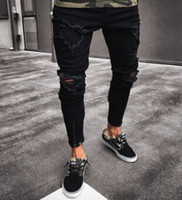 Wholesale distressed jeans for men - Black Pants for Men Hip Hop Rock Holes Ripped Jeans Biker Slim Fit Zipper Jean Distressed Pants