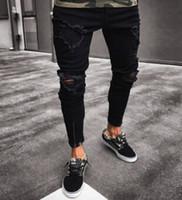 zíper preto magro jeans homens venda por atacado-Calças pretas para homens de Hip Hop Buracos rock rasgado Jeans motociclista Slim Fit Zipper Jean afligido Calças