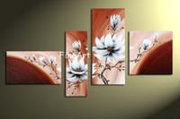 pinturas de peônias florais venda por atacado-Pintados à mão peônia flor pintura a óleo da lona de lona belas artes abstratas pinturas a óleo galeria barato moderna arte da lona decoração da parede de desconto