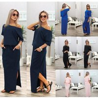 Wholesale off panel - 2018 Sexy Women Boho Maxi Dress Short Sleeve Side Slit Loose Evening Party Long Beach Dress with Pocket Vestidos
