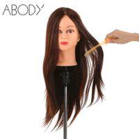 Wholesale hairdressing training head human hair resale online - 24 quot Real Human Hair Dummy Head Hair Cutting Braiding Practice Head Clamp Holder Salon Hairdressing Training Tool