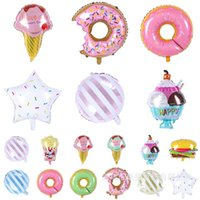 Wholesale shower decor resale online - Cute Aluminum Foil Balloon Ice Cream Doughnut Hamburger Shaped Air Balloons For Baby Shower Birthday Party Decor Airballoon Fashion zz BB