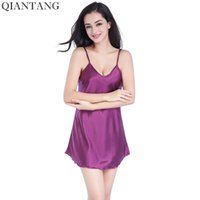 lila silk pyjamas großhandel-Neue Purple Summer Frauen Robe Nightwear Damen Faux Silk Badehose Bademantel Nachthemd Pyjamas Größe S M L XL XXL TB05