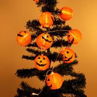 ingrosso le luci di zucca di halloween delle stringhe-Halloween Pumpkin String Light 3D Pumpkin 10 LED 120cm Batteria a batteria Puntelli per feste Bianco caldo Halloween Decorazione per la casa