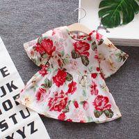 ropa blanca linda del bebé al por mayor-Vestidos florales para niña Bebé Princesa Verano Vestido Blanco Amarillo Fiesta Vestidos lindos Nueva moda Ropa para niños