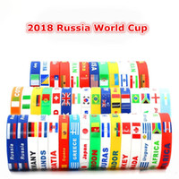 Wholesale nationals band - 2018 Russia FIFA World Cup Silicone Bracelets with National Flag Design Wristband Football Fans Sports Bracelet Souvenir Wrist Band Gift