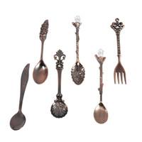 Wholesale vintage style spoons resale online - New Set Vintage Royal Style Metal Carved Mini Coffee Spoons And Fork Fruit Prikkers Dessert Fork Kitchen Accessories