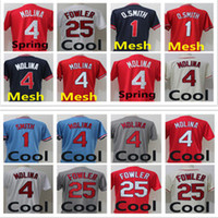 Wholesale Molina Baseball - 2018 Men's 1 Ozzie Smith 25 Dexter Fowler 4 Yadier Molina Vintage Cooperstown Flex base Pullover Button Color Blue Red Baseball