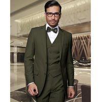 mejores chaquetas del ejército al por mayor-Army Green Groom Tuxedos Beautiful Groomsmen Suits Hombres Prom Cothing Trajes de negocios Best Wedding Suit (Jacket + Pants + Vest)
