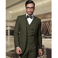 лучшие армейские куртки оптовых-Army Green Groom Tuxedos Handsome Groomsmen Suits Men's Prom Cothing Business Suits Best Wedding Suit (Jacket+Pants+Vest)