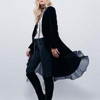 pessoas abertas venda por atacado-2017 frete grátis sexy elegante jaquetas de veludo Chiffon babados populares populares casacos longos moda jaquetas ponto aberto