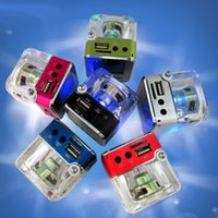 Wholesale mini mp3 player crystal for sale - Nizhi TT Portalble Speakers TT028 Subwoofer LED Crystal LCD Display Mini Music MP3 Player Loud Spearkers FM SD TF Card