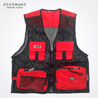 Wholesale Quality Photography - ZOZOWANG speing autumn photography vest men summer mesh multi pocket vest men army green high quality new v neck