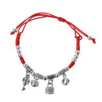 alte fußkettchen großhandel-Lucky Red String Armband Alte Silberne Farbe Dekoration Schutz Jingle Bell Fußkettchen