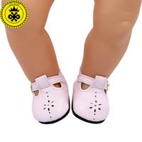 rosa leder baby schuhe großhandel-Baby Geboren Puppe Schuhe Rosa Leder Schuhe Fit 43 cm Zapf Baby Born Puppe Zubehör Mädchen Geschenk xie576