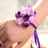 Wholesale Wrist Corsage Pink - Wrist Corsage Bridesmaid Sisters Hand Flore Artificial Silk Lace Bride Flower For Wedding Decoration Bridal Prom wholesale