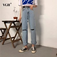d1b20b93974c VGH Jeans For Women Casual Loose Hole Ankle Length Pants High Waist Wide  Leg Pant 2018 Summer Korean Fashion Clothing New