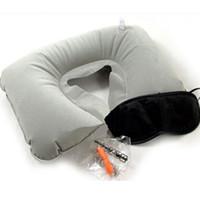 almofada em forma de u inflável venda por atacado-CAMMITEVER 3 pcs Set Inflável U Em Forma de Travesseiro de Viagem Cabeça Pescoço Descanso Almofada de Ar para o Escritório de Viagem Cabeça de Cochilo Descanso Almofada de Ar