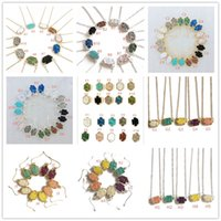 Wholesale 14k link chain - Fashion druzy drusy necklace earrings kendra silver gold plated faux natural stone scott necklaces earrings for women brand jewelry