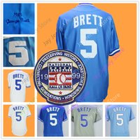 Wholesale babies lights - George Brett Jersey with 1999 Hall Of Fame Patch Cooperstown Flexbase Home Away Baby Light Blue White Grey