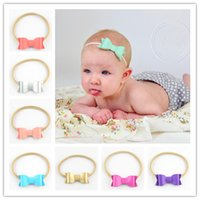 Wholesale hair bows for infant girls resale online - kawaii baby Nylon Headwear newborn girl bow knot headbands Elastic Headband Cute Hairbands Hair Accessories for infant