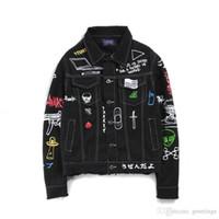 Wholesale Old Clothing Brands - Original Hip Hop Kayan Graffiti Cowboy Jacket Men's Jacket Made Old Patchwork Jacket Men's Brand Clothes Jackets Coat