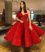Wholesale puffy photo - 2018 Ball Gown Prom Dresses with One Shoulder Tea Length Sequined Velvet Puffy Arabic Short Evening Gowns