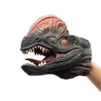 dinosaurierpuppen großhandel-Weicher Gummi Dinosaurier Handpuppe Tierkopf Handpuppe Figur Halloween Dekoration Handschuhe für Kinder Geschenk