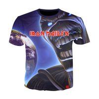 punk tarzı gömlekler toptan satış-Demir kızlık Gömlek Tee Bant Müzik T-shirt Kafatası Tshirt Gotik Tops Kaya Giyim Punk 3D Baskı T Shirt Çiftler 10 Stilleri